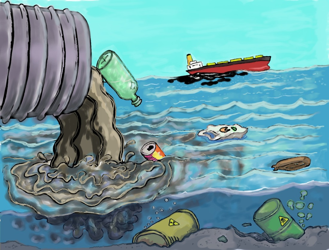 Sewage and garbage being poured into the ocean