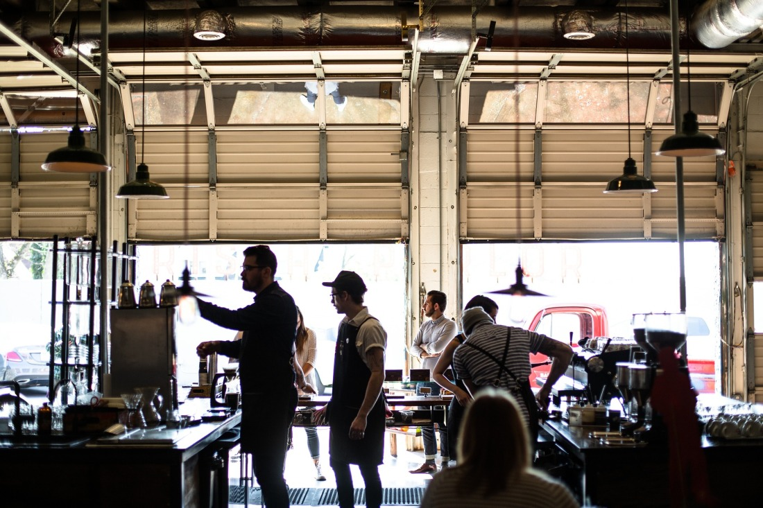 Baristas making coffee