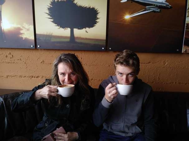 My mom and I at Storyville Coffee in Seattle, WA, USA